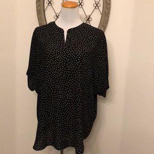 Charter Club black and white polka dot blouse xl